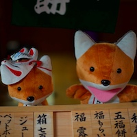 Photo of plush foxes from Fushimi Inari-Taisha shrine in Kyoto, Japan